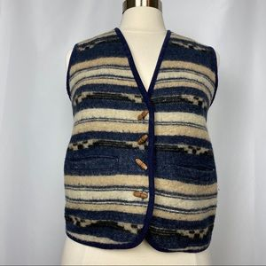 At Last Southwestern Wool Vest, Size Small
